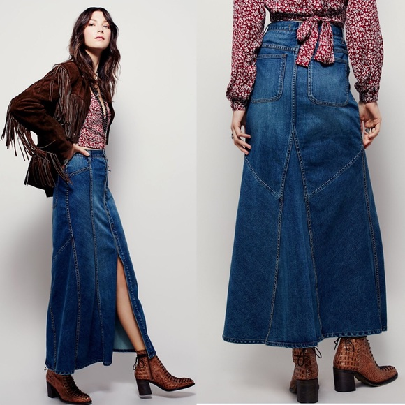 Free People Dresses & Skirts - Free People Penelope Denim Maxi Skirt Button Front